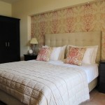 pink damask bedroom