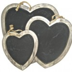 3 heart shaped blackboards