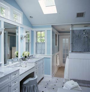 Bathrooms in pale blue and white panda s house - Bathrooms In Pale Blue And White Panda S House