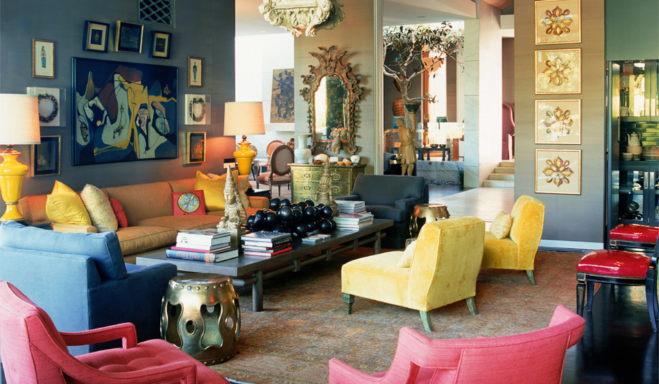 Modern glamour panda 39 s house - Blue and yellow living room ...