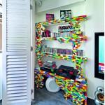 bookshelf made of lego