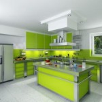 green and white kitchen modern