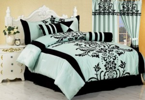 black and aqua damask bedding