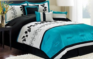 black and turquoise bed set