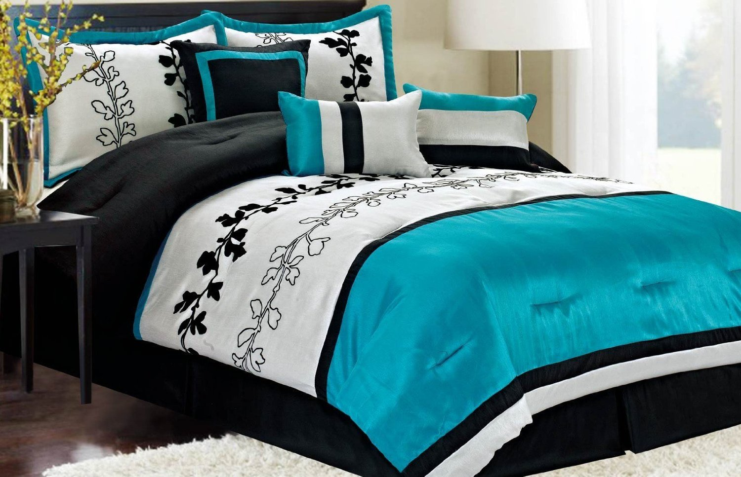 Turquoise and black color scheme archives panda 39 s house Teal bedding sets