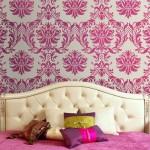 damask wall bedroom