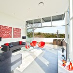 red gray and white living room
