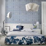 Blue White Patterns Bedroom