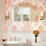 pink bathroom damask