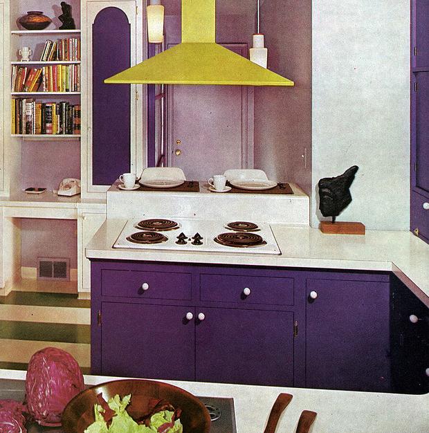 Chic Purple Kitchen Cabinets