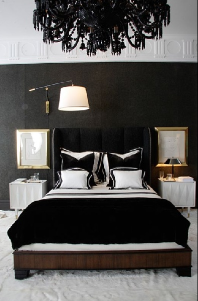 glamorous black bedroom