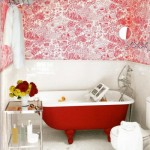 red toile bathroom design