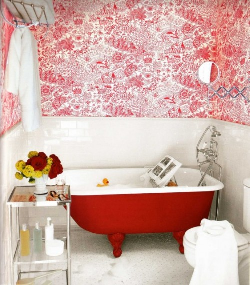 Red toile inspiration panda 39 s house - Toile bathroom decor ...