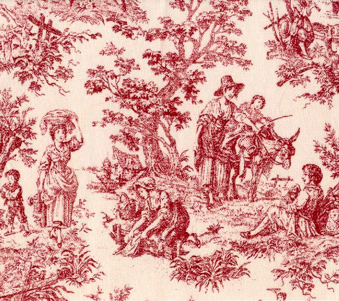 toilerusticlife red - Toile De Jouy Behang