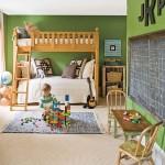 green kids bedroom interior