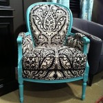 black white and turquoise damask chair