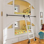 White and yellow bunk Beds