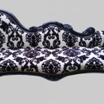 Damask chairs panda 39 s house for Black damask chaise longue