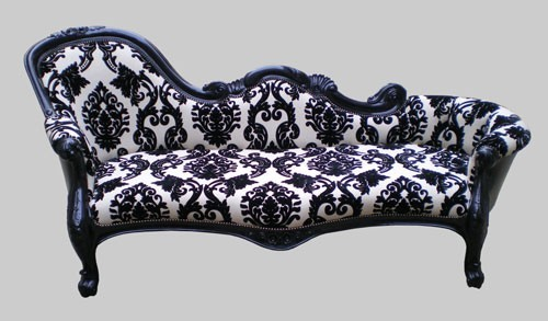 Damask lounge chair products i want need love pinterest for Black and white damask chaise lounge