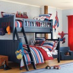 Dark blue and red bunk bed boys