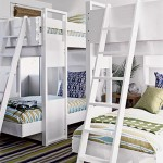 two bunk beds in white