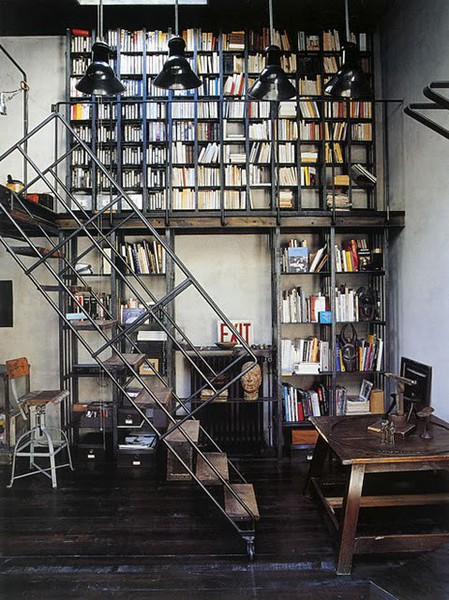 Home library industrial style panda 39 s house - Style industriel chic ...