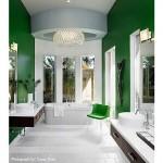 Green and white modern bathroom