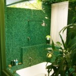 tropical green bathroom