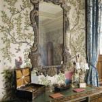 Louis XIV desk and an English Rococo mirror