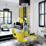 dining and living room in white, black and yellow