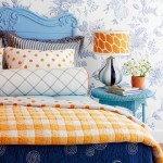 bedroom in blue and orange