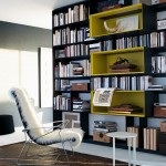 Book shelves with yellow niches