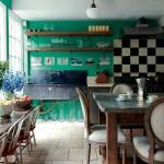 green an black kitchen