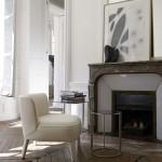 Herringbone floor and fireplace