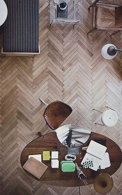 herringbone parquetry floor