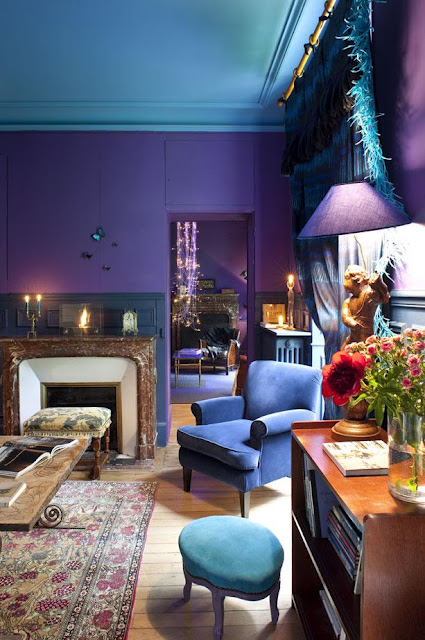 Moody blue and purple panda 39 s house - Teal and purple living room ...