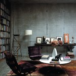 Concrete walls in the home library
