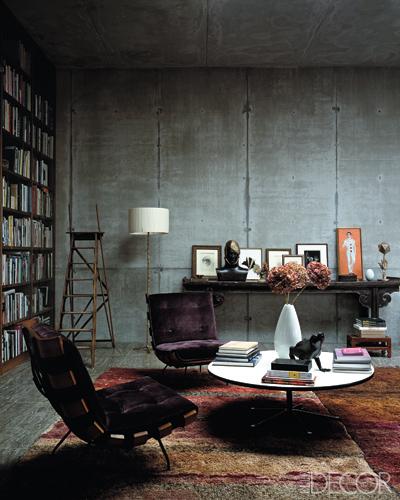 Industrial Home Interior Design: Concrete Home Library