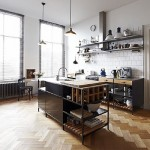 Herringbone floors in industrial kitchen