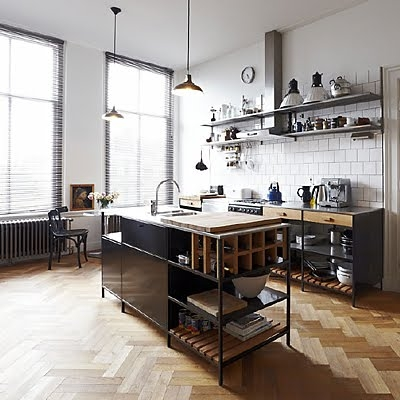 industrial-kitchen-chevron-floor | Panda's House