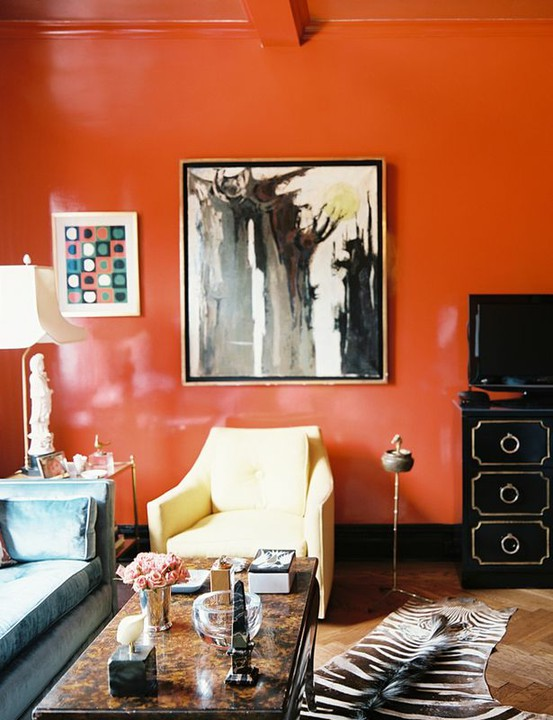 Living room orange wall panda 39 s house for Interior design living room orange