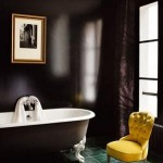 black and yellow bathroom