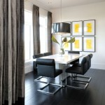 black and yellow modern dining room