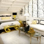 Modern bedroom in white black and yellow