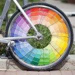 pantone paint chips on wheels of bike
