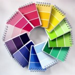 pantone notebooks arranged in a spiral