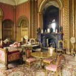 pink drawing room in a castle