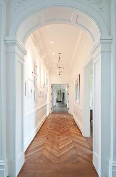 Herringbone floors in the hallway