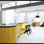 curved bright yellow kitchen cabinets