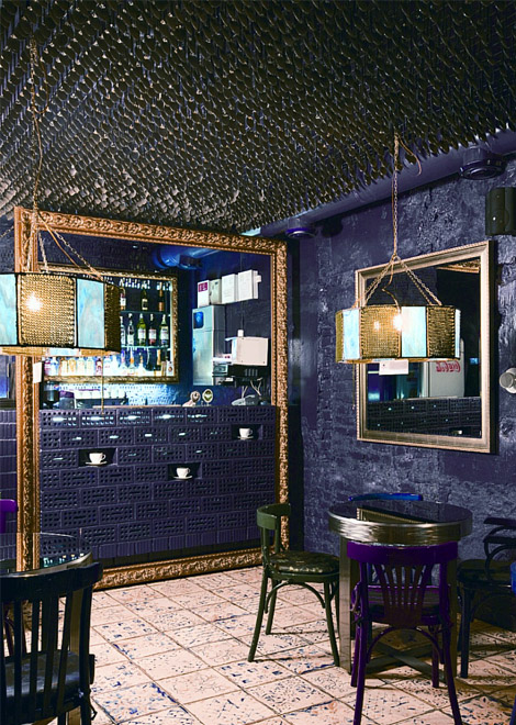 Purple blue and black cafe interior design 3 panda 39 s house for Black and blue interior design
